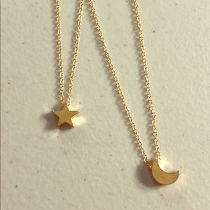 Jewelry - Set of Two Moon & Star Neckleces